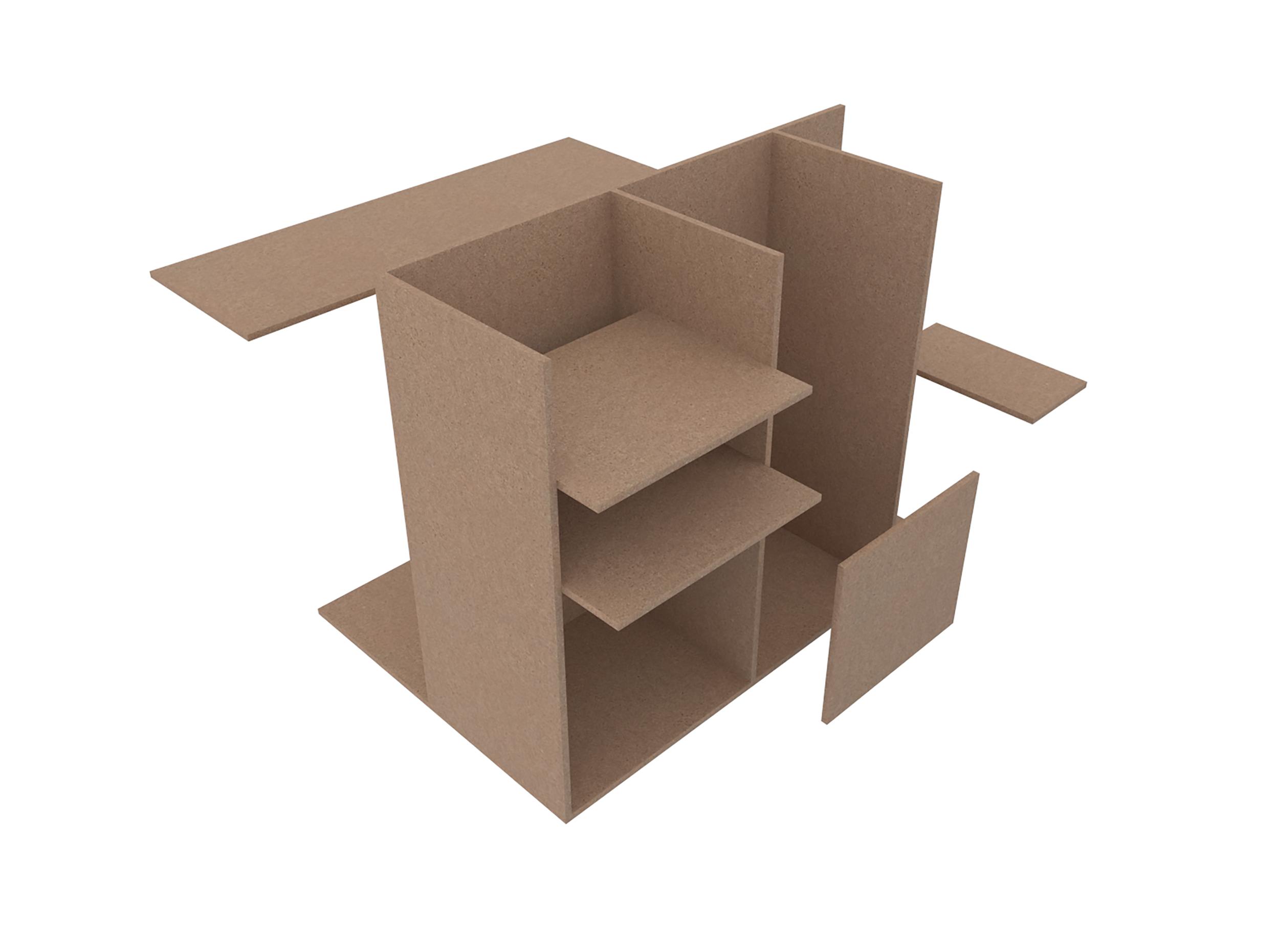 Schéma de montage d'un meuble en 3D