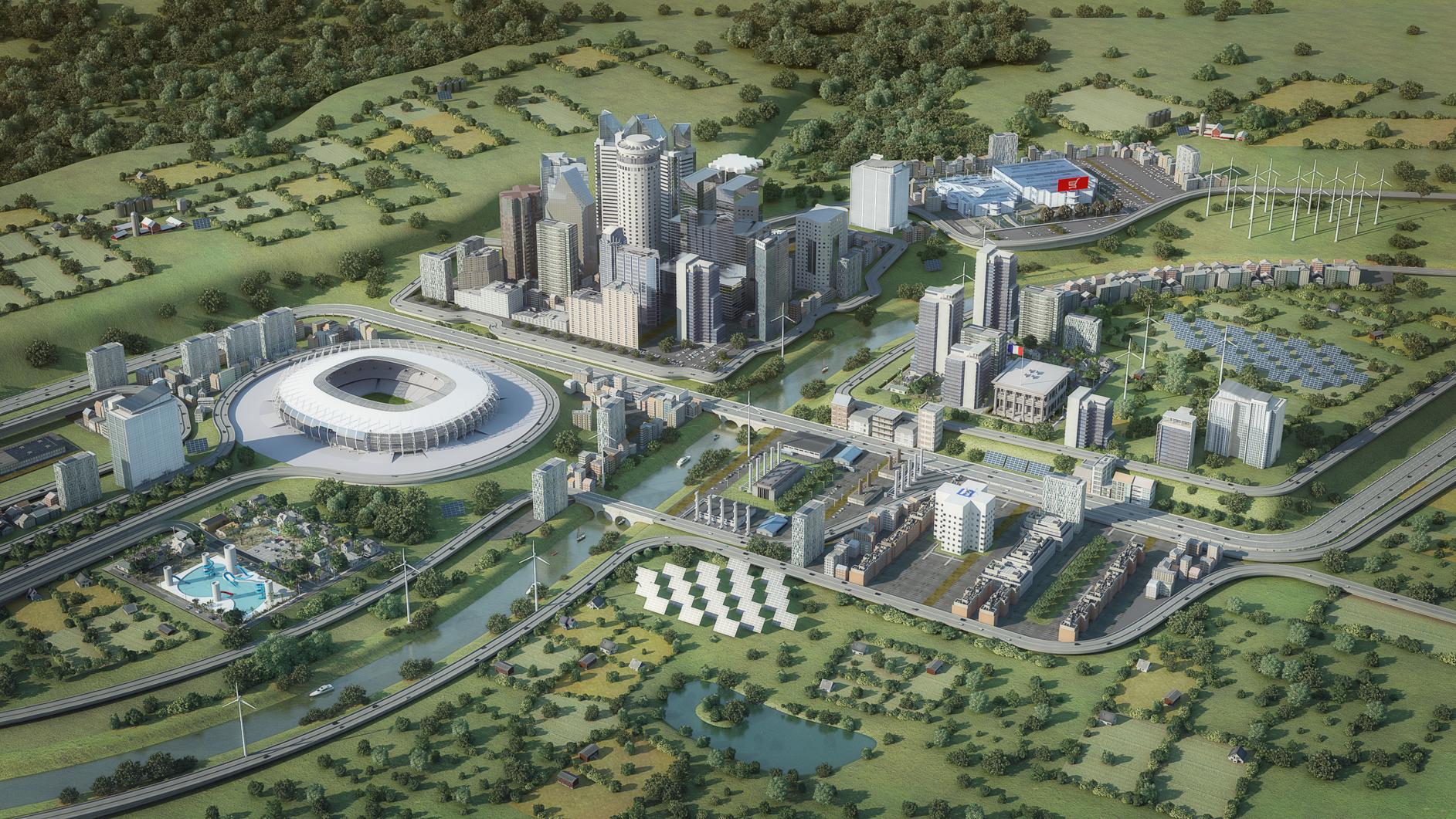 Visuel Hénélia - Modélisation et illustration 3D ville éco-responsable