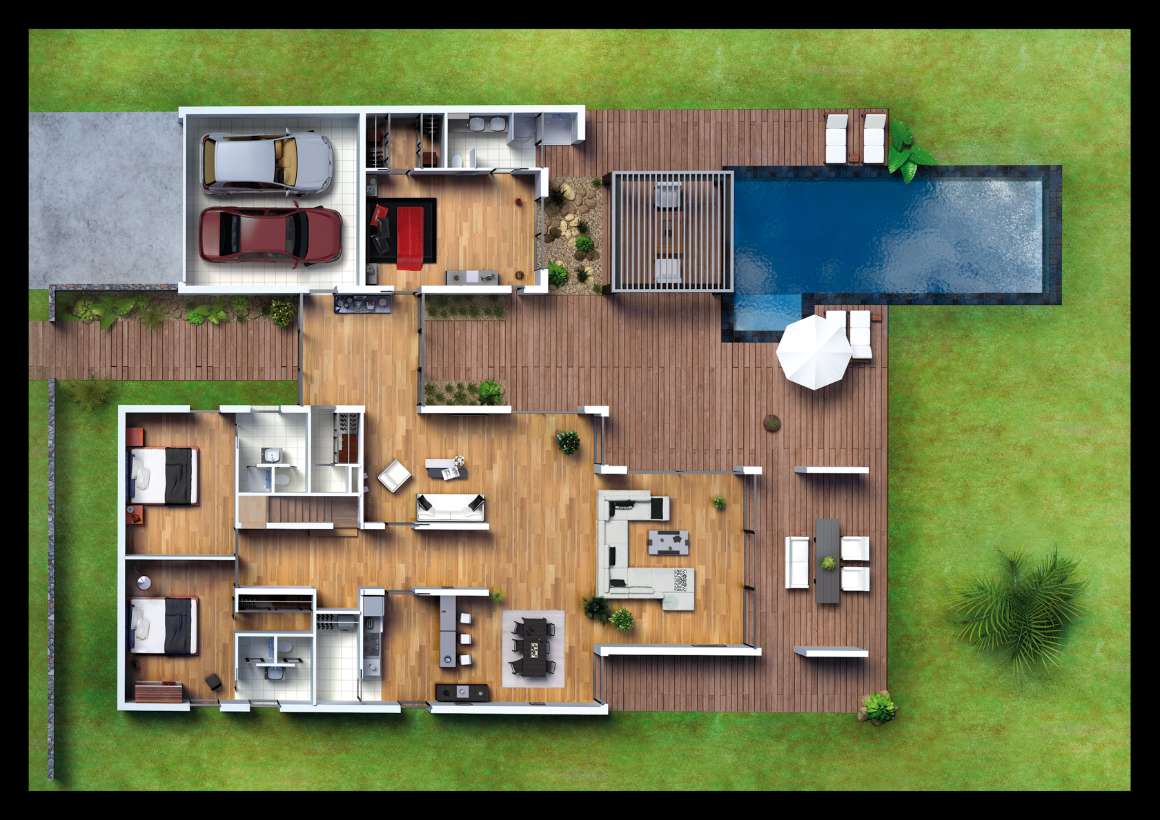 Plan de Masse 3D aménagement maison par Dripmoon
