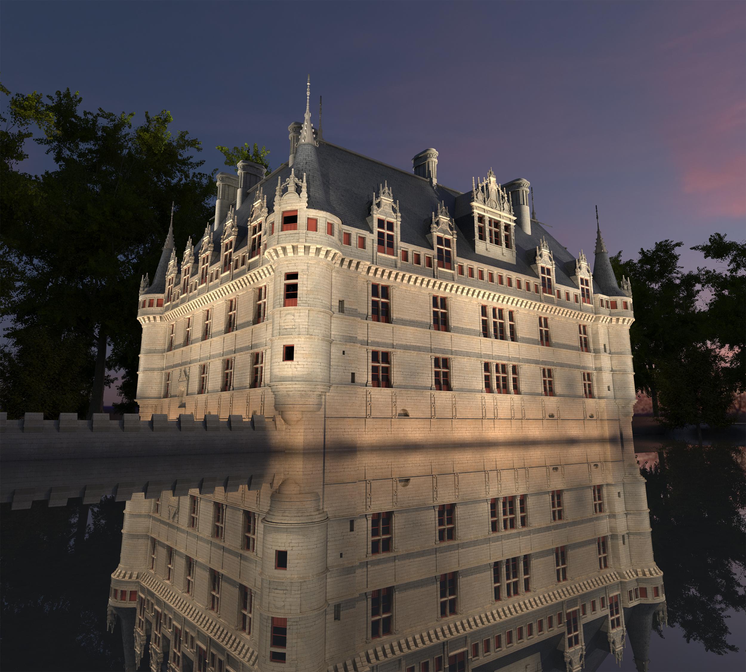 Infographie pour Projet de Mise en Lumière du Château de Azay le Rideau - Modléisation et image 3D par Dripmoon